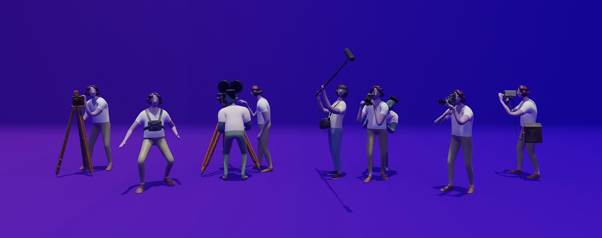 Modélisation 3D de six caméras accompagnées de six opérateurs et de trois assistants. Ils prennent la pose, prêts à tourner un film.